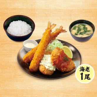 カニ風味コロッケ&海老フライ(1尾)定食