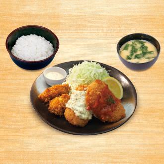 カニ風味コロッケ&カキフライ定食