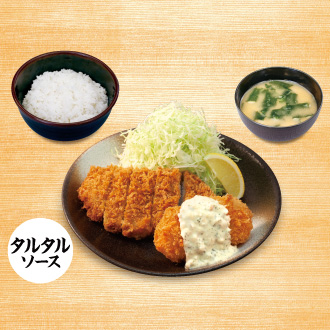 ロースかつ&カニ風味コロッケ(タルタルソース)定食