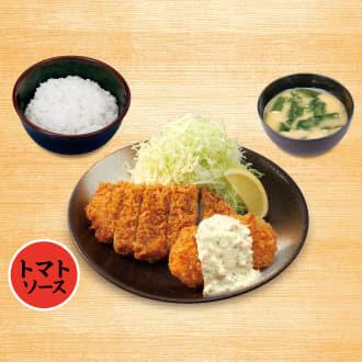ロースかつ&カニ風味コロッケ(トマトソース)定食