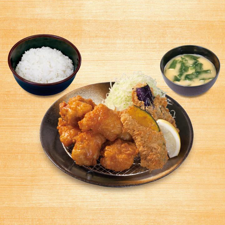 唐揚げ&野菜フライ2点盛合わせ定食