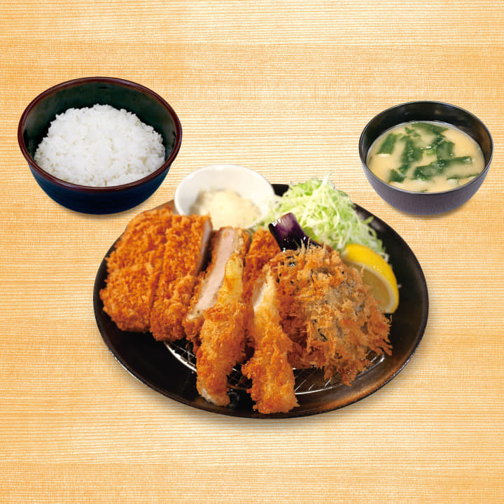 大判ヒレかつ&ナスパラ定食