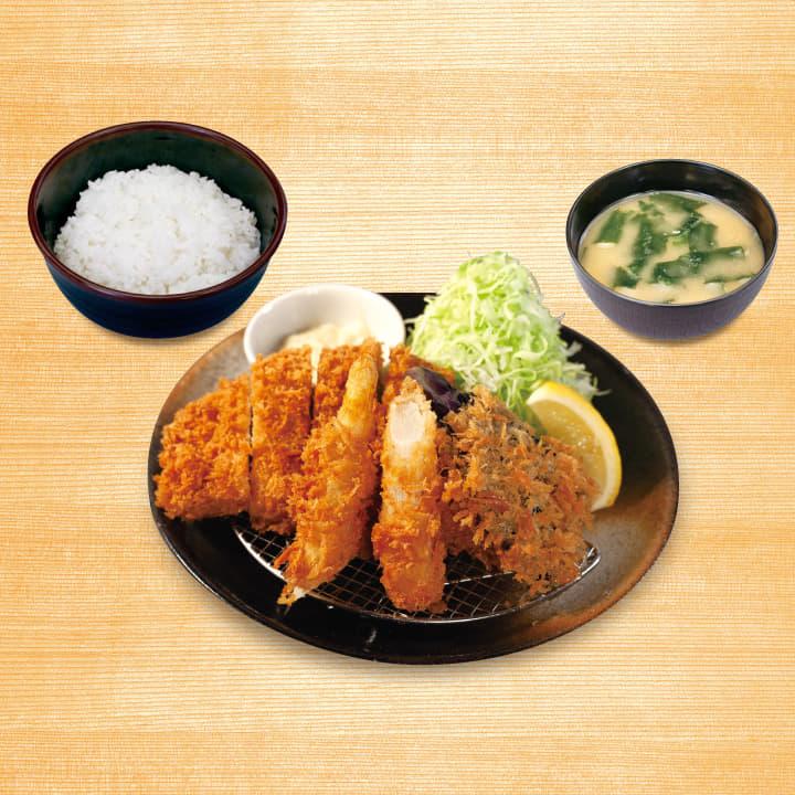 ロースかつ&ナスパラ定食