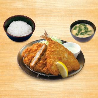 大判ヒレかつ&アジフライ定食