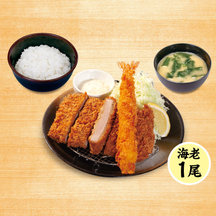 大判ヒレかつ&海老フライ(1尾)定食