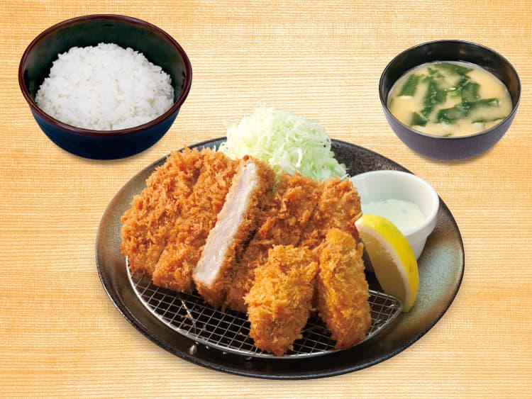 大判ヒレかつ&カキフライ定食