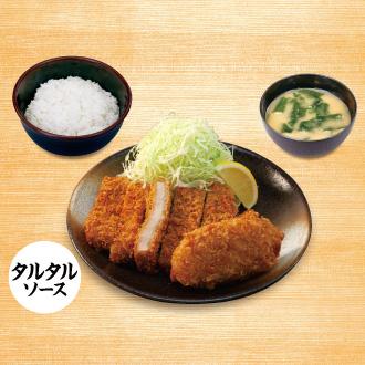 大判ヒレかつ&カニ風味コロッケ(タルタルソース)定食