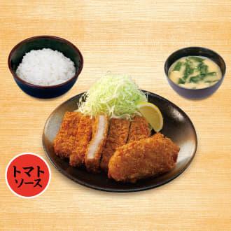 大判ヒレかつ&カニ風味コロッケ(トマトソース)定食