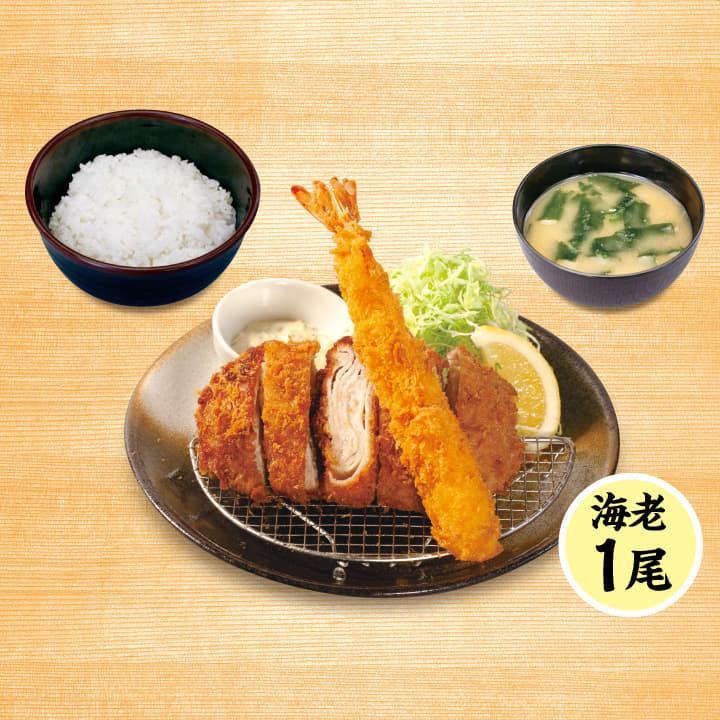 ロースミルフィーユかつ&海老フライ(1尾)定食