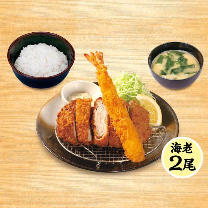 ロースミルフィーユかつ&海老フライ(2尾)定食
