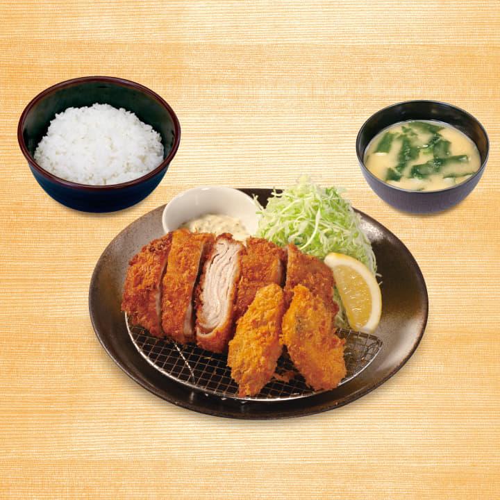 ロースミルフィーユかつ&カキフライ定食