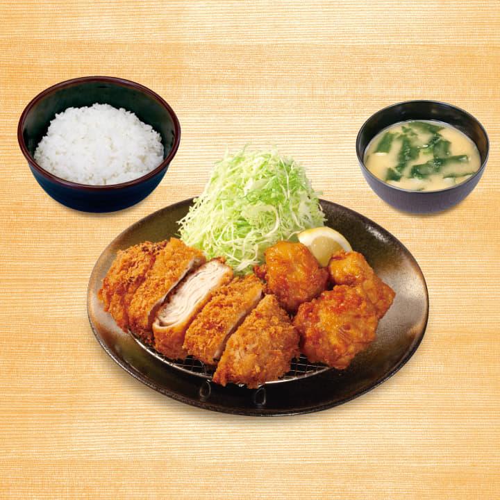 ロースミルフィーユかつ&唐揚げ定食