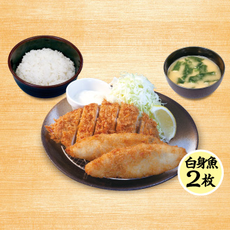 ロースかつ&白身魚フライ(2枚)定食