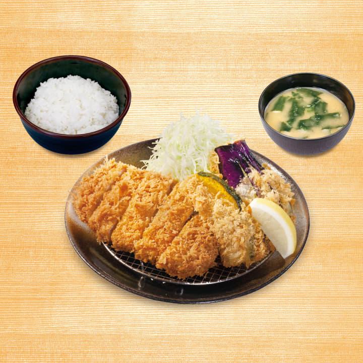 ロースかつ&野菜フライ2点盛合わせ定食