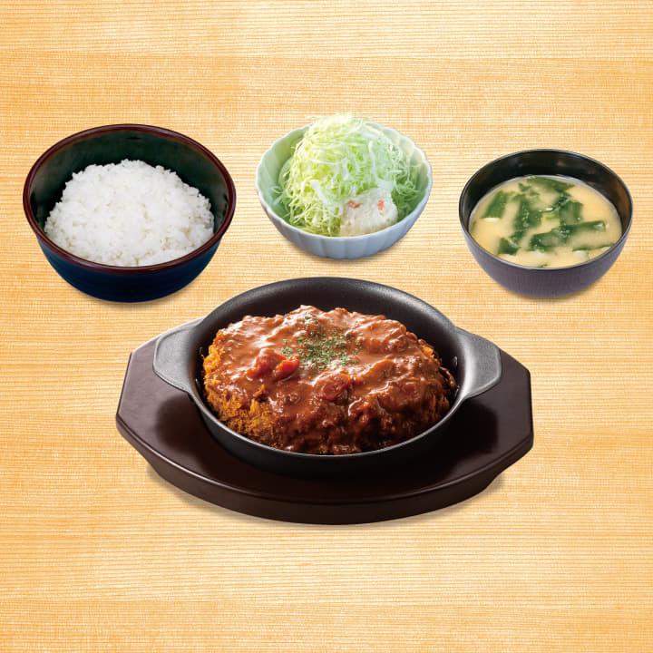 Bigメンチハンバーグ定食(マッシュルームソース)