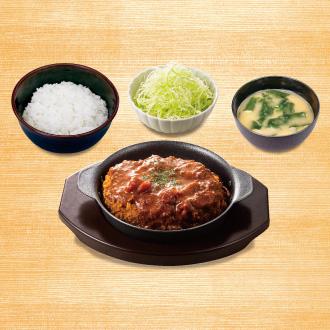 松のや ごちそうハンバーグ定食(マッシュルームソース)