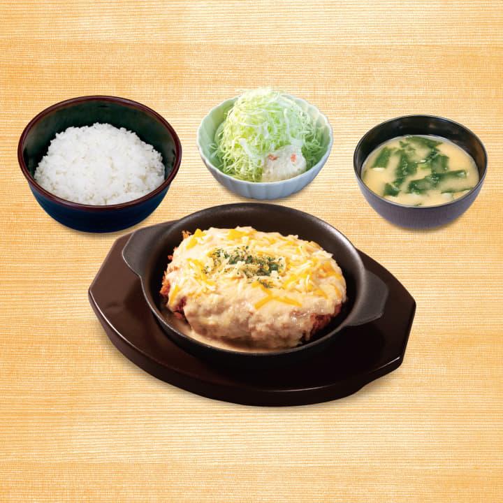 松のやごちそうハンバーグ定食(ホワイトガーリックチーズソース)