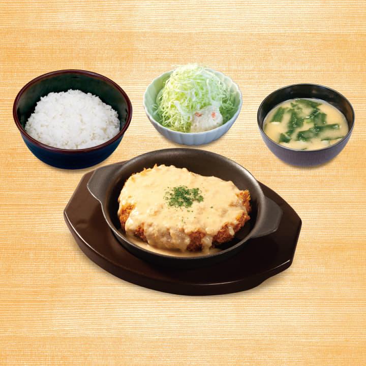 松のやごちそうハンバーグ定食(ホワイトガーリックソース)