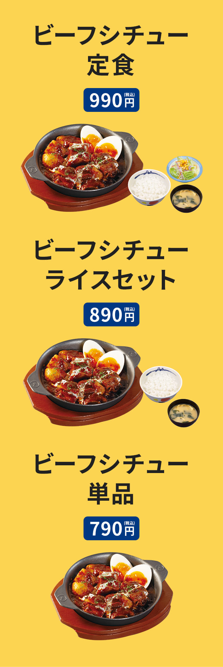 ビーフシチュー定食(ライス・みそ汁・生野菜付) 990円。ビーフシチューライスセット(ライス・みそ汁付) 890円。 単品 790円。