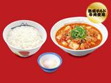 豆腐キムチチゲ膳(プレミアム牛肉使用)半熟玉子
