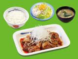 牛焼肉の旨辛炒め定食ポテトサラダセット