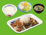牛焼肉と茄子のにんにく味噌定食ポテトサラダセット