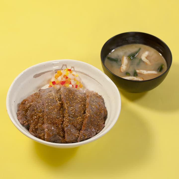 ビフテキ丼(にんにくごま醤油)