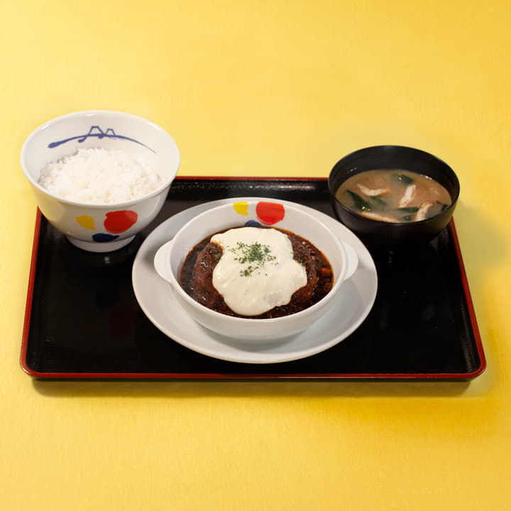 ボロネーゼ&マスカルポーネ風Wソースのハンバーグライスセット