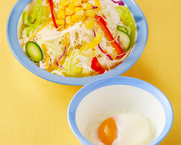 彩り生野菜半熟玉子セット