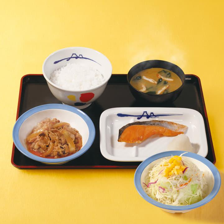 牛皿+焼鮭生野菜セット