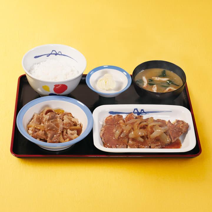 牛皿+厚切り豚生姜焼セット