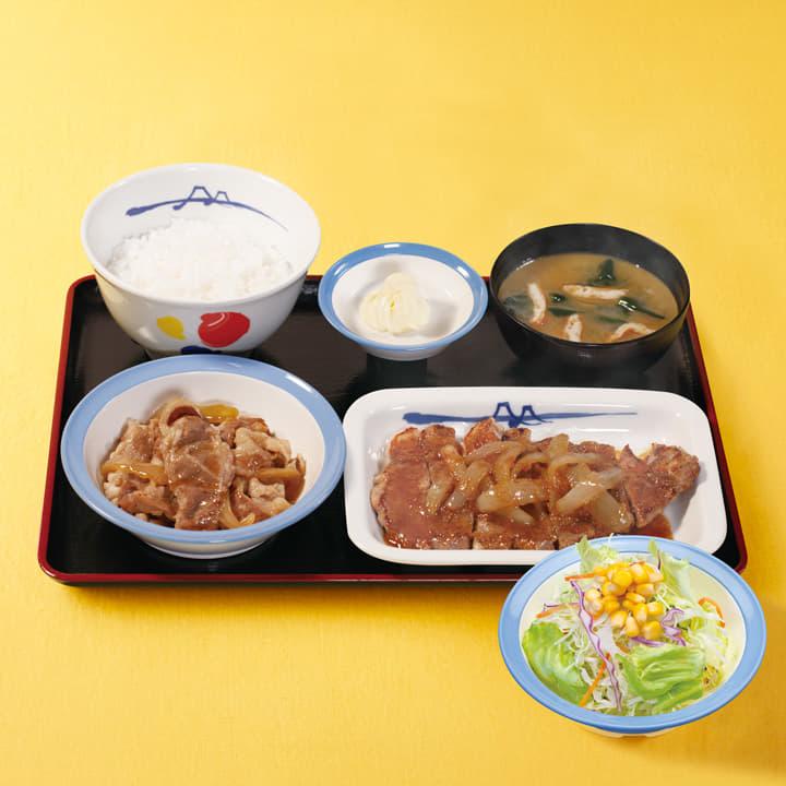 牛皿+厚切り豚生姜焼生野菜セット