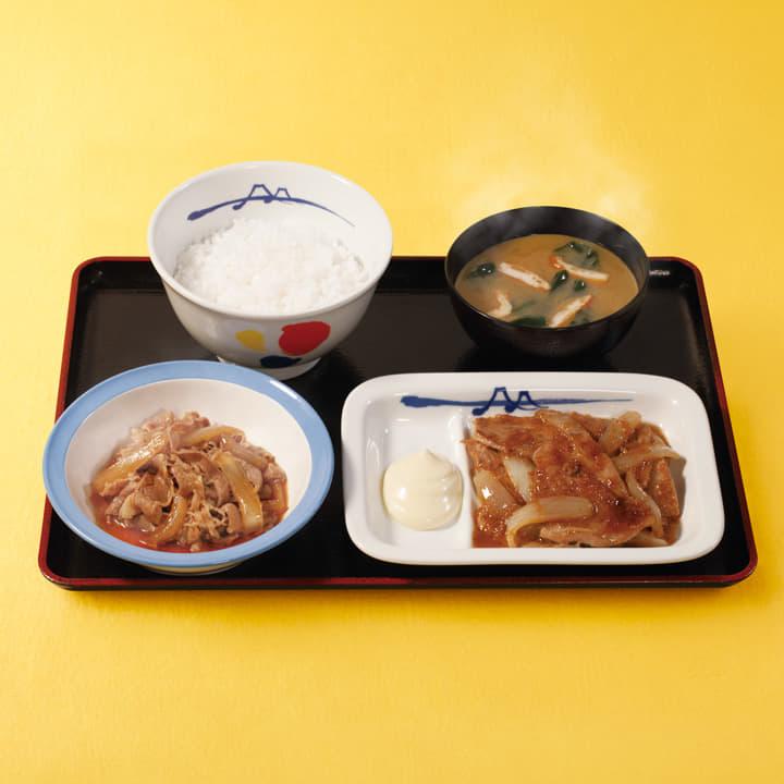 牛皿+豚生姜焼セット