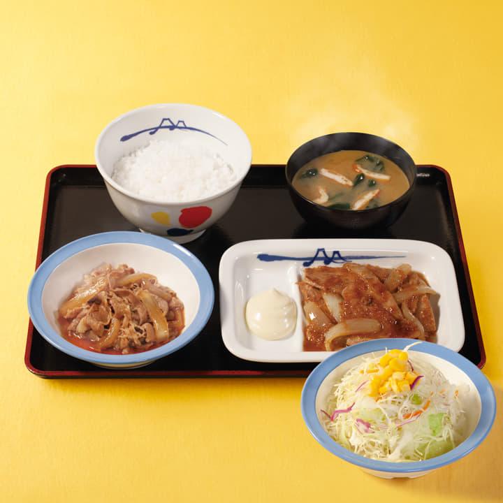 牛皿+豚生姜焼生野菜セット